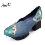 Pumps-Xiangban Original Design Women Pumps High Heeled Shoes Blue Painted Embroidery Sequin Sheepskin shoes platform K33K15 on JD