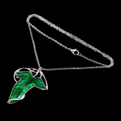 Pendants-Lord of The Rings Green Leaf Elven Pin Brooch Pendant With Chain Necklace on JD