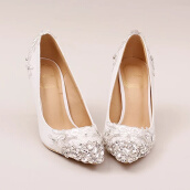 Pumps-White Lace Rhinestone Sparkles High Heel Ladies Wedding Shoes on JD