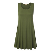 Casual-Timeson New Summer T-Shirt Dress Sleeveless Knitted Tunic Dress with Pockets Big Hem Female Stretch Mini Solid Plus Size Dresse on JD