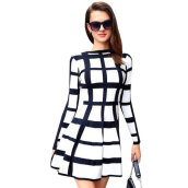 Dresses-Lovaru ™ Winter And Fall New Fashion 2015 Women Plaid Printed Casual Dress O-neck Full Sleeve Dress Work Wear Vestidos on JD