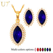 Jewelry Sets-Big SWA Crystal Jewelry Set Wholesale New 18K Real Gold Plated 7 Colors Crystal Rhinestone Earrings Necklace Set For Women on JD