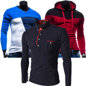 Long Sleeved Polos-Zogaa New Men's POLO Shirt Fashion Slim Dot Long Sleeve on JD