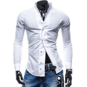 Casual Shirts-Zogaa New Men's Shirt Pure Color Slim Casual Fashion on JD