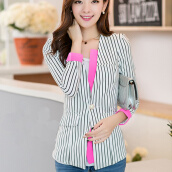 Suiting & Blazers-Vertical stripe long sleeve one button suit jacket Miss Han Ban on JD