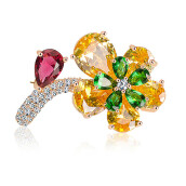 Brooches-Aiyaya Oval-cut Waterdrop 5 Leaf Flower Emerald Ruby Yellow Micro Cubic Zircon 2 Level Brooches High Quality on JD