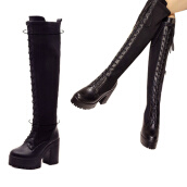 Pumps-Women Black Shoes Lace Up Over Knee Thigh Platform High Heels Riding Military Boot on JD