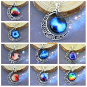 Traditional Necklace/Anklet-1PC Random Color Pretty Time Pendant Necklace Moon Crescent Cabochon Shape 2015 New Arrival on JD