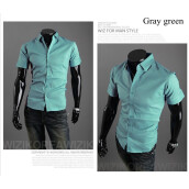 Casual Shirts-New 2015 Summer British Shirt Mens Slim Fit Man Short Sleeve Shirts Men's Clothing Slim Casual shirts 17 Coloe 5 Size XXXL on JD
