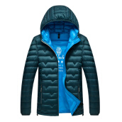 Jackets Куртки-Antarctic men 's down jacket fashion solid color wild hooded casual down jacket 1905 sea blue green XL on JD