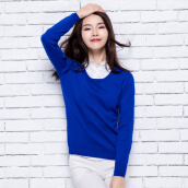 Cardigans-Velvet Shijia pure color side of the collar long-sleeved sweater knitted sweater R1238 navy blue L on JD