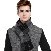 Men's Oxfords-CACUSS Men's Scarves Classic Plaid Pure Wool Scarves Business Quality Scarves Gift Boxes Black W0041 on JD