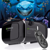 VR Glasses-Hot!2016 Google Cardboard VR shinecon Pro Version VR Virtual Reality 3D Glasses +Smart Bluetooth Wireless Remote Control Gamepad on JD