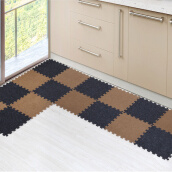 Area Rugs & Doormats-Maiya mat anti-slip kitchen mats two-color tile carpet red and black 4 pieces on JD