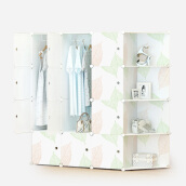 Bedroom Furniture-Kouzi simple wardrobe plastic modern simple adult combination storage children resin assembly folding double wardrobe leaves ordinary 12 door 6 grid 2 hanging belt angle on JD