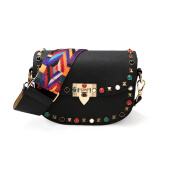 Handbags-Jiabaisi Clutch bag women Semicircle Shoulder bag Pu leather Retro Beads handbag with detachable 2 Straps colorful Silk cute purse on JD