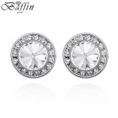 Stud Earrings-BAFFIN Round Stud Earrings With Austrian Crystals For Women Fashion Jewelry Gifts on JD