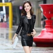Leather-Markentsee 2017 new women's autumn water wash leather fashion Slim short section long-sleeved suit collar simple street yz1780540 black XL on JD