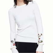 Cardigans-Floral pattern embroidered white sweater on JD