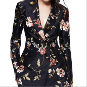 Suiting & Blazers-Chinese embroidered black silk suit jacket on JD