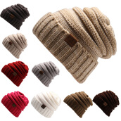 Hats & Caps-Men Women  Winter Knitted Wool Cap Unisex Folds Casual CC labeling Beanies Hat Solid Color Hip-Hop Skullies Beanie Hat Gorros on JD