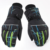 Hats & Caps-Yu Zhaolin (YUZHAOLIN) Gloves male winter windproof gloves plus velvet thick warm cold wind wind riding gloves ski gloves black and blue on JD