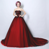 Evening Dresses-Wine red lace bra princess bride wedding dress for dinner toast tail wedding dress 6302 years on JD