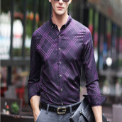Casual Shirts-2017 autumn new shirt men's lattice fight color long-sleeved middle-aged men shirt light luxury business casual men's clothing on JD