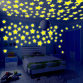 Wall Stickers & Murals-100pcs 3D Stars Glow In The Dark Luminous Fluorescent Plastic Wall Stickers Living Home Decor For Kids Rooms on JD