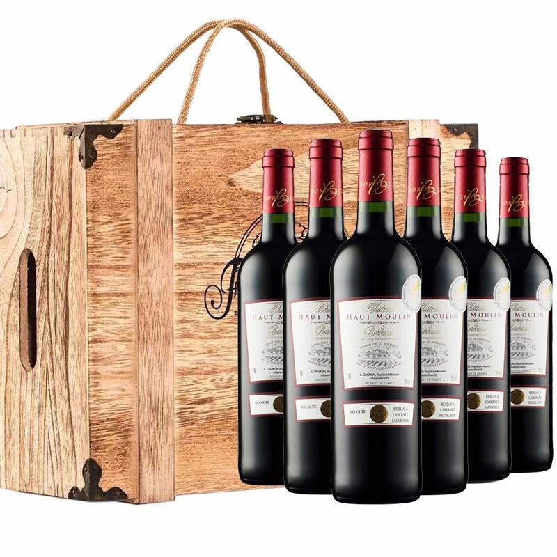 【京东商城,假一罚万】法国原瓶进口红酒,拉菲产区城堡级波尔多AOC