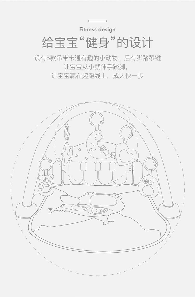 贝恩施婴儿玩具脚踏钢琴健身架早教玩具欢乐成长音乐玩具可水洗多模式柔和声光B210【带遥控器】