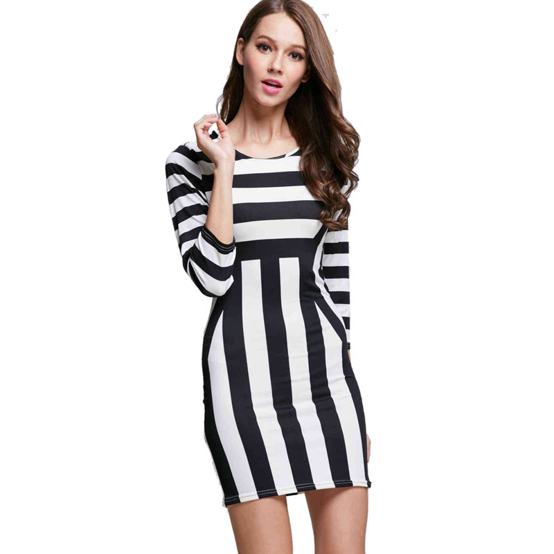 211d09c37e striped dress 2016 spring summer style mini dresses for party long sleeve  slim sheath dress