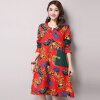 MICOCAH official store / Famous Brand New Women Dress 2016 Fashion Chinese Style Print Autumn Dress Pockets Full Knee-Length A-Line Dresses