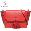 BAFELLI Fashion Tassel Split Leather Women Shoulder Crossbody Bag Zipper & Hasp Trapeze Bolsa Feminina Red Women Messenger Bags