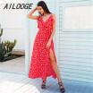 AILOOGE / V cuello de la colmena con estampado floral vestido de verano de las mujeres correa sin espalda boho vestido largo sin mangas dividir maxi vestido de playa vestidos