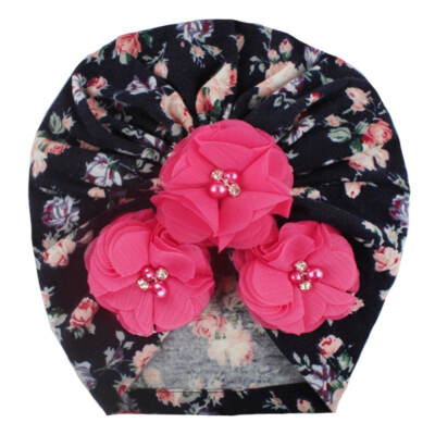 2019 Autumn Winter Soft Cute Newborn Baby Flower Pearl Design Girls Caps Infant Hat Turban Elastic Caps