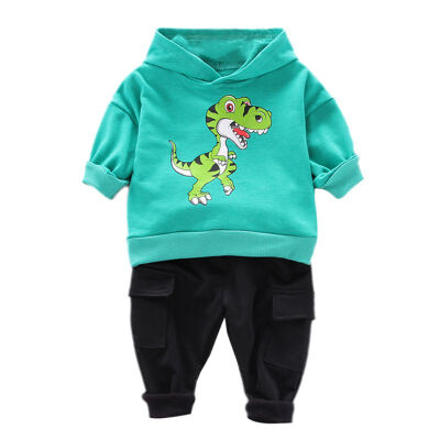 Autumn Baby Boy Clothes Cotton Kids Clothes Long Sleeve Cartoon Dinosaur Print Hoodie SweatshirtTrousers Pants Casual Sets