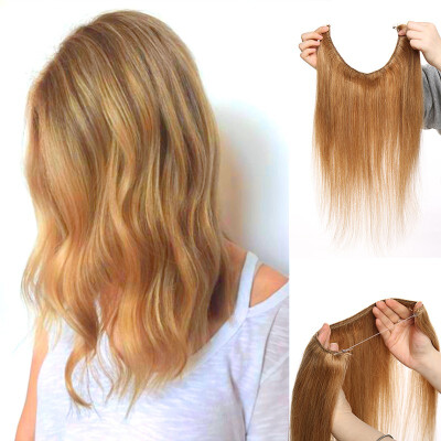 """16""""18""""20""""22"""" One Piece Straight Remy Human Hair Miracle Secret Invisible Wire Hair Extensions No Clip No Glue 1pcs"""