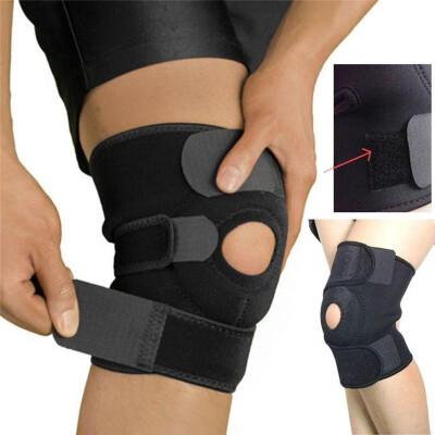 Neoprene sports knee support 2pcs adjustable strap elastic patella sports support brace black neoprene knee
