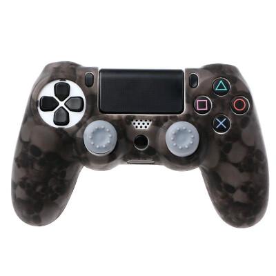 Silicone cover skull silicone gamepad cover case 2 joystick caps for ps4 pro slim controller