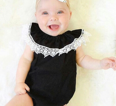 Ins exploding girl lotus collar black Kazakhstan 0-3 year old baby Siamese newborn lace triangle climbing summer