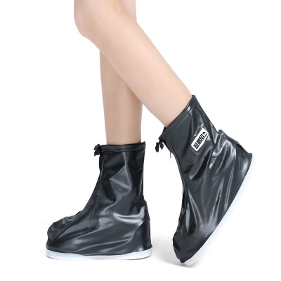 Banzhini non-disposable rainwear raincoat rain boots rain boots set outdoor desert sand travel rainy waterproof shoe cover foot cover boys&girls rain boots black