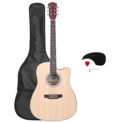 """Glarry GT601 41"""" 6-String 20-Fret Dreadnought Spruce Front Cutaway Sapele Back Folk Guitar with Bag & Board & Wrench Tool"""
