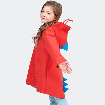 Banjeni childrens raincoat non-disposable boy girl poncho cloak raincoat cute little dinosaur schoolbag poncho cloak child rain gear reusable yellow
