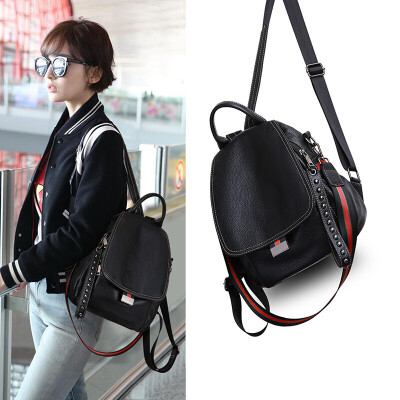 Viney leather shoulder bag female fashion change backpack student sister simple college wind large capacity bag lady bag black