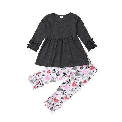 Toddler Kid Baby Girl Long Sleeve Outfit Clothes T-shirt TopLong Pants 2PCS Set