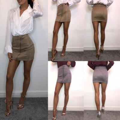 Women High Waist Faux Suede Zip Pencil Skinny Slim Short Sexy Mini Skirt