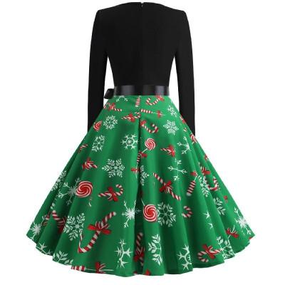 W2183 Cross-border Christmas retro large size womens autumn&winter round neck long-sleeved black spell print large swing dres