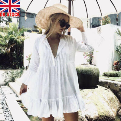 UK Women Bikini Cover Up Swimwear Bathing Summer Beach Loose Blouse Shirt Dress