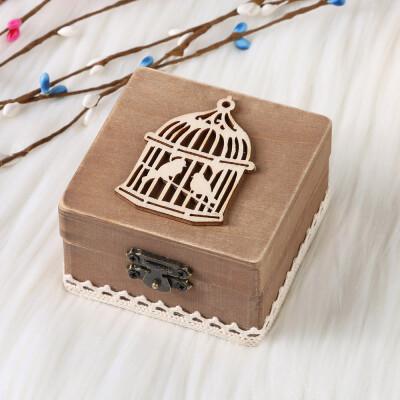 〖Follure〗Personalized Retro Wedding Ring Box Holder Shabby Chic Rustic Wooden Bearer Box